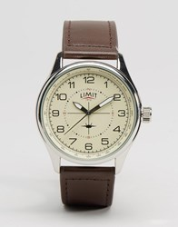Limit Pilot Leather Watch In Brown Brown