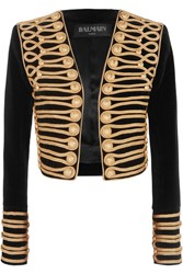 Balmain Cropped Embellished Velvet Jacket Black