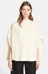 Red Valentino Cable Knit Wool Cape Ecru