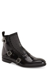 Men's Alexander Mcqueen 'Three Buckle' Studded Boot Black Leather