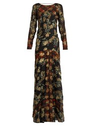 Etro Floral Fil Coupe Silk Blend Georgette Gown Black Multi
