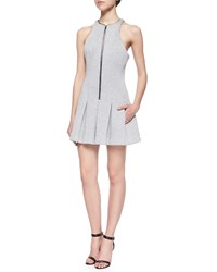 T By Alexander Wang Sleeveless Scuba Box Pleated Dress Size M Heather Gray
