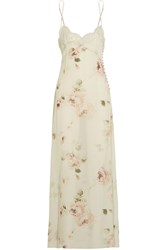Rosamosario Lace Trimmed Floral Print Silk Chiffon Chemise Green