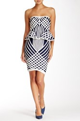 Gracia Faux Leather Piping Strapless Peplum Dress