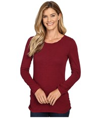 Mod O Doc Slub Jersey Long Sleeve Twisted Scoopneck Tee Chianti Women's T Shirt Red