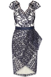 Marchesa Notte Belted Wrap Effect Embroidered Tulle Mini Dress Navy