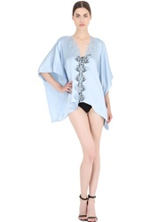 La Perla Silk Satin Robe With Lace Detail Light Blue