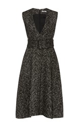 Cacharel Tweed V Neck Dress Black