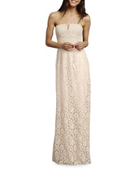 Donna Morgan Strapless Slit Neck Sheath Gown Fawn