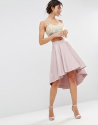 Asos Dip Back Prom Skirt In Structured Fabric Peach Skin Pink