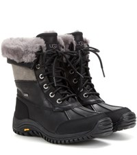 Ugg Adirondack Ii Fur Trimmed Leather Boots Black