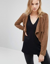 Only Faux Suede Jacket Cognac Brown