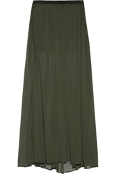 Enza Costa Pleated Chiffon Maxi Skirt Army Green