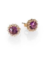 Suzanne Kalan Amethyst White Sapphire And 14K Yellow Gold Starburst Stud Earrings Amethyst Gold