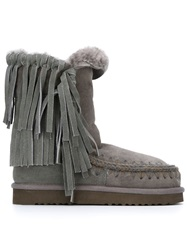 Mou Fringed Shearling Boots Grey