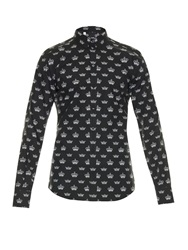 Dolce And Gabbana Gold Fit Crown Print Shirt