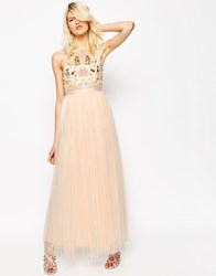 Needle And Thread Foliage Cluster Tulle Maxi Dress Ballet Pink