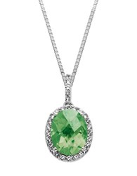 Lord And Taylor Sterling Silver Green Amethyst Pendant Necklace