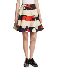 Delpozo Floral Striped Party Skirt Natural White