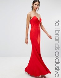 Jarlo Tall Helena Deep Sweetheart Plunge Front Maxi Dress Red