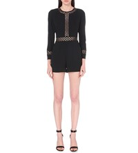 Ted Baker Embroidered Cutout Crepe Playsuit Black