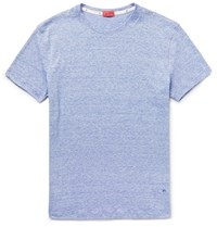 Isaia Space Dyed Knitted Linen And Cotton Blend T Shirt Blue