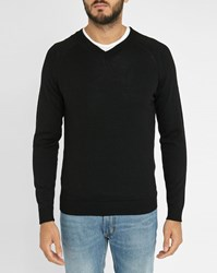 Sandro Black Francis Vee V Neck Merino Sweater