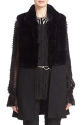 St. John Women's Collection Cashmere Blend And Genuine Rex Rabbit Fur Vest Caviar