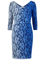 Gina Bacconi Ombre Wrap Lace Dress Blue