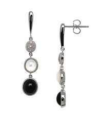 Lord And Taylor Onyx Opal Diamond Sterling Silver Drop Earrings