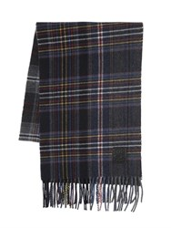 Dsquared Fringed Plaid Wool Scarf