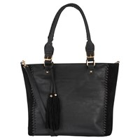 Oasis Suede Patch Whipstitch Shopper Bag Black