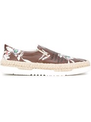 Valentino Garavani Floral Slip On Sneakers Brown