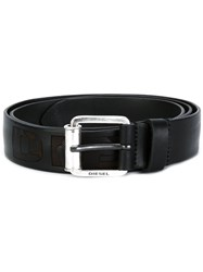 Diesel Logo Embossed Belt Black