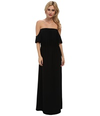 Tbags Los Angeles Cutout Sleeves Off Shoulder Waisted Maxi Dress Black Women's Dress