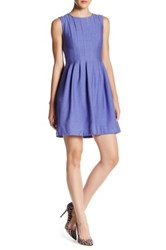 Anne Klein Vertical Pleat Fit And Flare Dress Blue