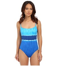 Lauren Ralph Lauren Engineered Tie Dye Lingerie Mio Ocean Women's Swimsuits One Piece Blue