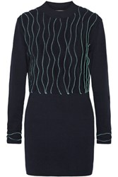 3.1 Phillip Lim Ruffled Ribbed Knit Cotton Sweater Navy