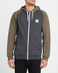Iriedaily Grey And Khaki Two Tone College Zipped Hood Sweatshirt