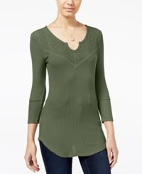 Almost Famous Juniors' Waffle Knit Top With Lace Back Olive