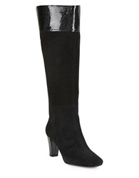 Bandolino Viet Wide Calf Suede And Leather Knee High Boots Black