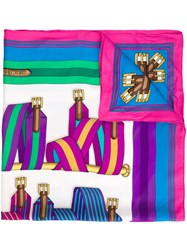 Hermes Herma S Vintage Striped Belt Print Scarf Multicolour