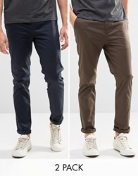 Asos 2 Pack Slim Chinos In Navy And Khaki Save 15 Navy Turkish Coffee Multi