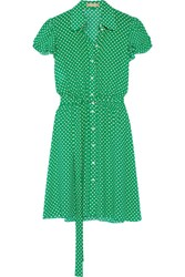 Michael Kors Collection Polka Dot Silk Georgette Mini Dress Green