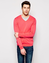 United Colors Of Benetton Cotton Knitted V Neck Jumper Red09u