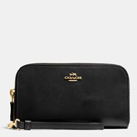 Coach Double Accordion Zip Wallet In Smooth Leather Light Gold Black