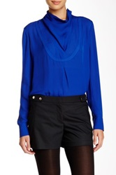 L.A.M.B. Silk Long Sleeve Blouse Blue