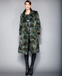 The Fur Vault Pieced Coyote Fur Coat Green
