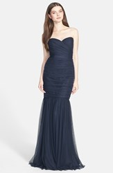 Amsale Women's Strapless Tulle Mermaid Gown Navy