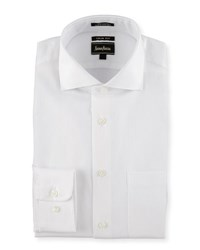 Neiman Marcus Trim Fit Regular Finish Dobby Dress Shirt White